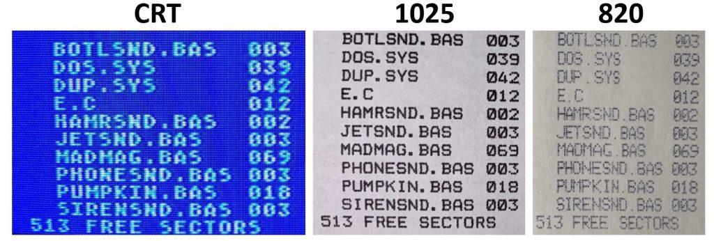 Atari 1025 - 820 Print Comparison
