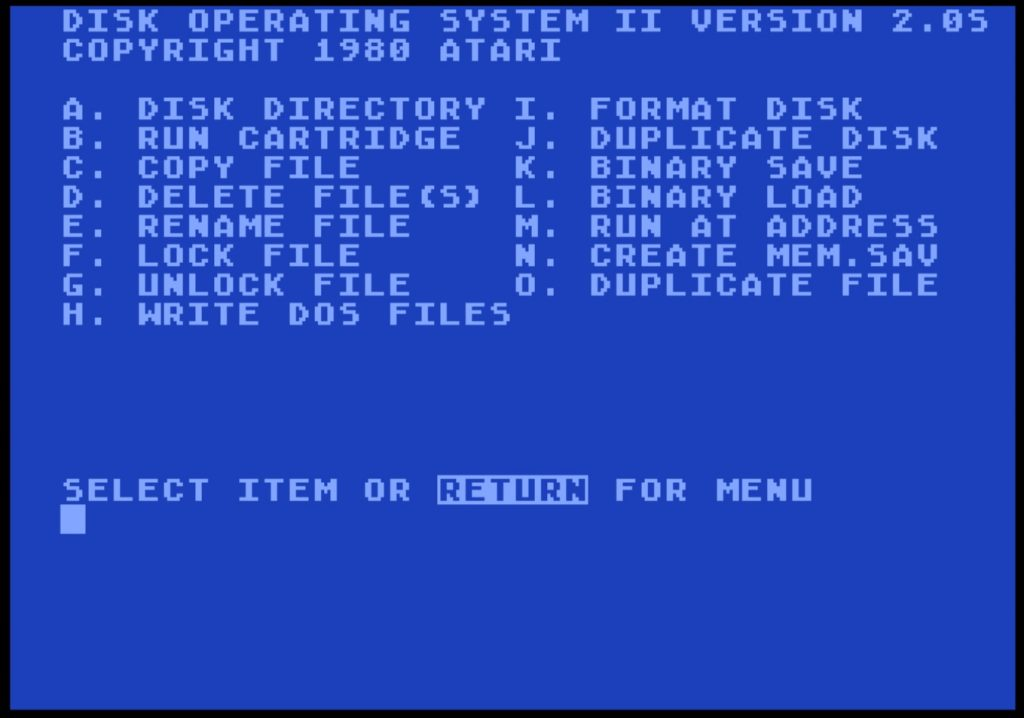Atari DOS 2.0S Menu