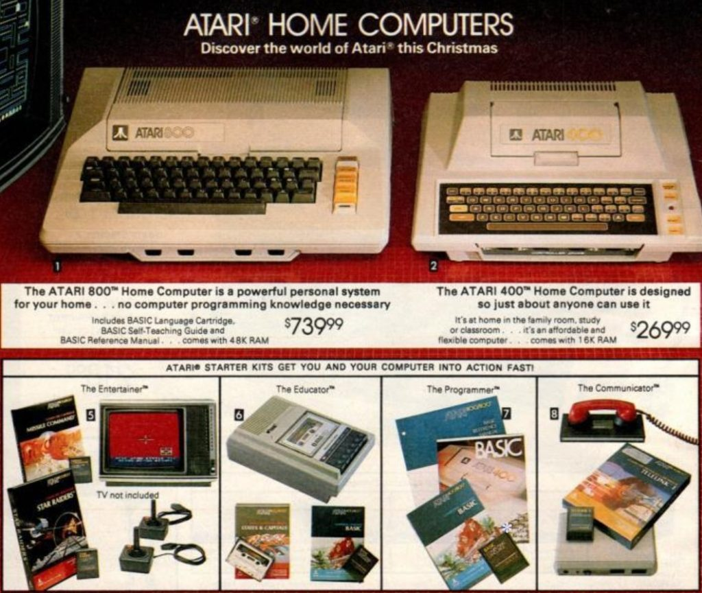 Atari 400 and 800 from the 1982 Sears Wishbook