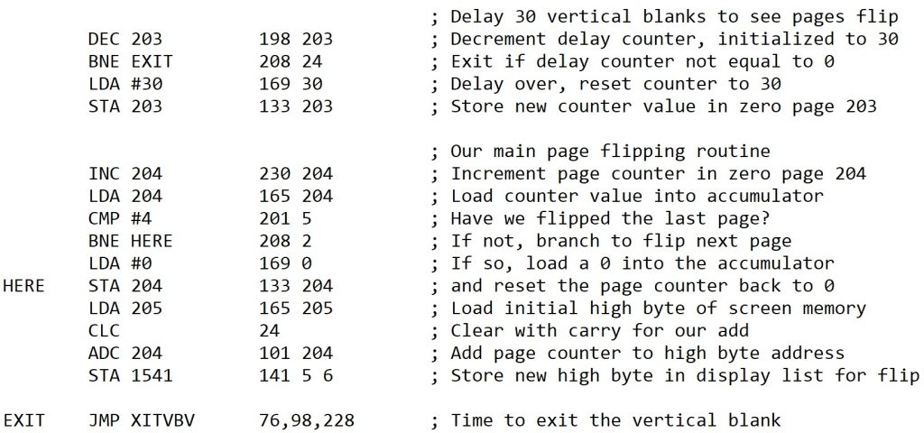 Assembly Code for Page Flipping