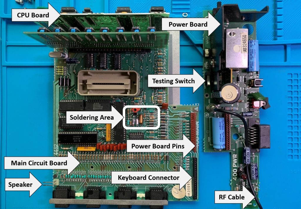 Atari 400 Maine Circuit Board and Power Board with Labels