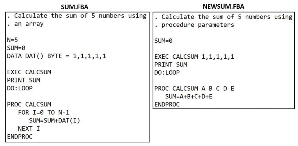 FastBasic Procedure Parameters Example